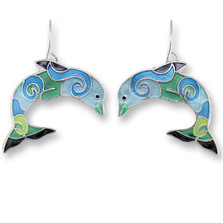 Dolphin Enameled Wire Earrings | Nature Jewelry
