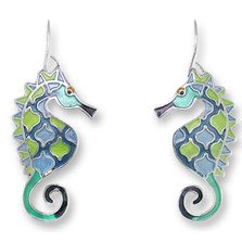Seahorse Enameled Wire Earrings | Zarah Jewelry | 32-21-Z1