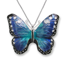 Blue Morpho Butterfly Enameled Silver Plated Necklace | Nature Jewelry