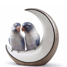 """Birds  Porcelain Figurine """"Fly Me to The Moon"""""""