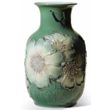 Butterfly and Poppy Flowers Tall Porcelain Vase