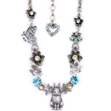 Bunny and Butterflies Necklace | Nature Jewelry