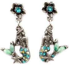 Flower and Mermaid Droplet Earrings | Nature Jewelry