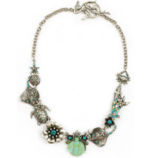 Mermaid Glass and Sea Life Asymmetrical Necklace | Nature Jewelry