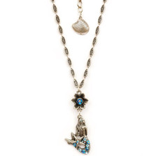 Flower and Mermaid Pendant Necklace | Nature Jewelry