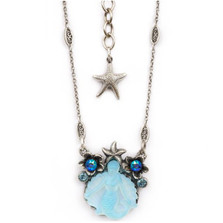 Mermaid Glass and Flower Pendant Necklace | Nature Jewelry