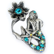 Mermaid and Flower Twist Ring | Nature Jewelry
