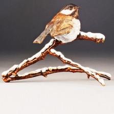 """Chickadee Bronze Sculpture """"Snowbird""""   72026"""