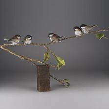 """Chickadee Bronze Sculpture """"Fine Feathers""""   73022"""