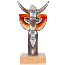 "Bull Iron and Crystal Sculpture ""Taurus III"" 