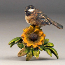 "Chickadee and Sunflower Bronze Sculpture ""Sunny Afternoon""   72046"