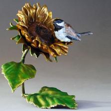 "Chickadee and Sunflower Bronze Sculpture ""Sunshine""   72037"