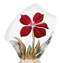 Obia Red Flower Crystal Sculpture | 34018