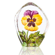Yellow and Purple Pansy Crystal Sculpture | 34217