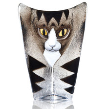 Cat Grey and Black Crystal Sculpture | 34220