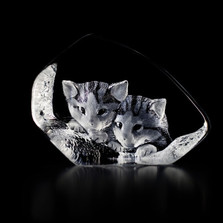 Cat Pair Crystal Sculpture | 33730