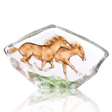Horses Galloping Crystal Sculpture   34086
