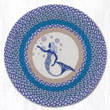 Blue Mermaid Round Braided Rug