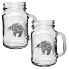 Bear Tribal Mason Jar Mug Set of 2