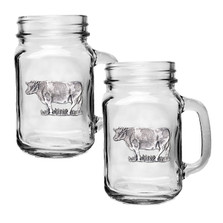 Cow Mason Jar Mug Set of 2