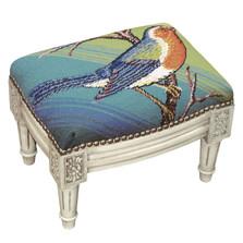 Blue Bird Needlepoint Footstool