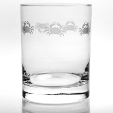 Crab Double Old Fashion Drink Glass Set of 4