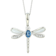 Dragonfly 14K  White Gold Inlay Pendant Necklace | Nature Jewelry