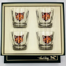 """Fox Optic Double Old Fashioned Glass Set """"Fox Mask"""""""