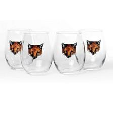 "Fox Stemless Wine Glass Set ""Fox Mask"""