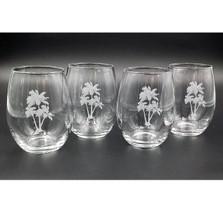 Palm Tree Stemless Wine Glass Set