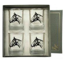 "Horse Double Old Fashioned Glass Set ""Seabiscuit"""