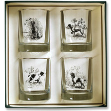 """Dog Double Old Fashioned Glass Set """"Sporting Dogs"""""""