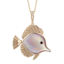 Fish 14K Rose Gold and Pink Mother of Pearl Necklace | Nature Jewelry