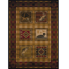 """Fish and Duck Area Rug """"Lodge Stamp"""""""