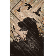 Dog and Birds Silhouette Wood Wall Art