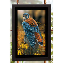 "Kestrel Falcon Stained Glass Art ""Fencepost Perch"""