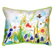 Bird and Daffodil Indoor Outdoor Pillow 20x24