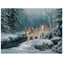 "Wolf Canvas Wall Art ""Along the Creekside"""