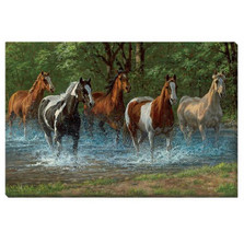 "Horse Canvas Wall Art ""Summer Creek"""