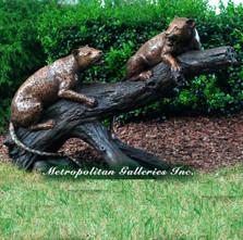 Leopards on Branch Bronze Statue