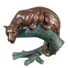 Leopard on Branch Bronze Statue