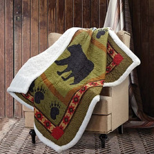 Bear and Paw Green Quilted Sherpa Throw Blanket