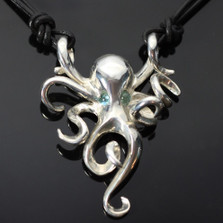 Octopus Silver Pendant Necklace Topaz Eyes | Nature Jewelry