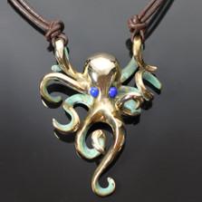 Octopus Bronze Pendant Necklace Lapiz Eyes | Nature Jewelry