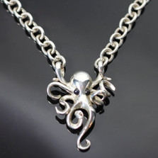 Octopus Silver Pendant on Link Chain Necklace | Nature Jewelry