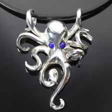 Octopus Silver Pendant On Cord | Nature Jewelry
