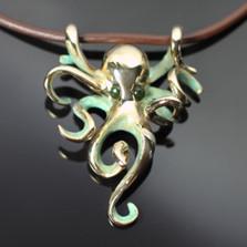 Octopus Bronze Pendant On Cord | Nature Jewelry