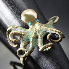 Octopus Bronze Cuff Bracelet | Nature Jewelry