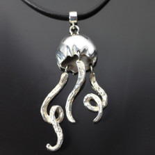 Jellyfish Silver Pendant On Cord | Nature Jewelry