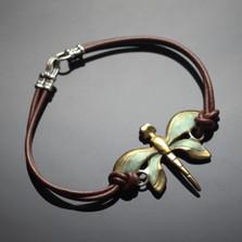 Dragonfly Bronze Pendant Bracelet | Nature Jewelry